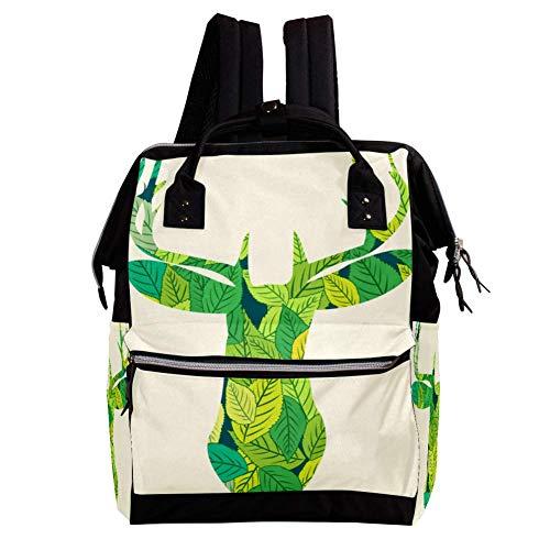 Grünes Reh Wickeltasche Große Kapazität Wickelrucksack Multiple Pockets Mummy Bag Dual-Use Tragbare Handtasche für Reisen Baby Wickelunterlage Tote Bag 27x19.8x36.5cm
