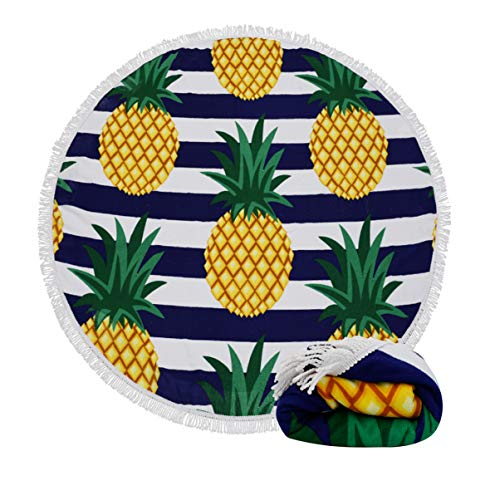 (16 Patterns) Thick Terry Round Beach Towel/Round Beach Blanket/Round Beach Mat Roundie Tapestry/Round Yoga Mat with Fringe Tassels Pineapple