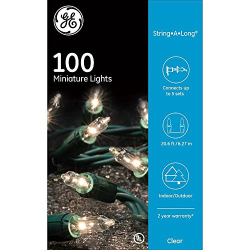 GE Long String White Mini Clear Lights 100 Count Outdoor / Indoor on Green Wire