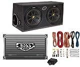 Kicker DC122 Dual 12' 600W Car Audio Subwoofers + Box + Boss 1500W Amp + Amp Kit