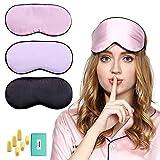 3PCS Maschera per dormire in seta, maschera da viaggio con tappi per le orecchie e cinghia regolabile per uomini e donne copriocchi per fani (nero + rosa + lavanda)