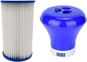 AEF Dispensador Productos Químicos Y Cartucho Filtro para Piscinas Flotador 7,5 Pulgadas, Flotante para SPA Piscinas para Piscinas Interiores Y Exteriores