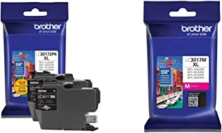 Brother Printer LC30172PK High Yield XL Black Ink Cartridge-2 Pack & LC3017M High Yield Magenta Ink Cartridge