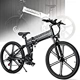 ZWJABYY Bicicleta Electrica 26 Pulgadas,500W MontañA Bicicleta Electrica, Bici Electrica Adulto,con ExtraíBle BateríA De 48V/10Ah,Shimano TransmisióN 21 Velocidades,Doble Suspension,Black