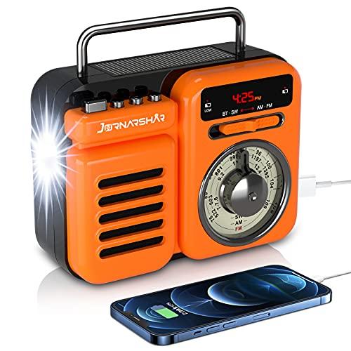 Jornarshar 防災ラジオ 防災ソーラーラジオ ラジオライト 手回しラジオ 懐中電灯 SW/AM/FM携帯ラジオ SOSアラート付き USB充電 手回し充電3つ給電式ラジオ 携帯充電器 アンプ Bluetooth メモリカード 時計 目覚まし時計 ス