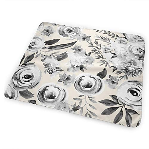 Sky Florals Black And White Linen Bed Pad Washable Waterproof Urine Pads for Baby Toddler Children and Adults 31.5 X 25.5 inch