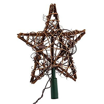 Lighted Rattan Natural Star for Christmas TreeTopper