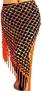 CHENTAOCS 12 Colors Belly Dance Practice Clothes Accessories Stretchy Long Tassel Triangle Belt Hand Crochet Belly Dance Hip Scarf Sequin Easy to use (Color : Orange)