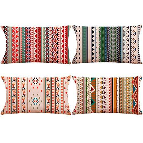 Thmyo Funda de Almohada de Lino y algodón, Decorativa, 12 Pulgadas x 20 Pulgadas (Solo Funda, sin Relleno)