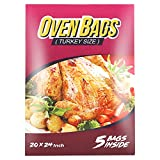 5 Counts Oven Bags Turkey Size,Cooking Roasting Bags Large Size(20×24Inch) Meat Roasting Bags Safe for Turkey Meat Fish and Vegetables
