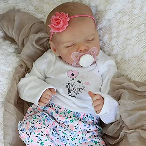 JIZHI Lifelike RebornBaby Dolls Girl 17 Inch Full Vinyl Body Washable Realistic Newborn Baby Dolls with Clothes and Toy Accessories Gift for Kids Age 3+