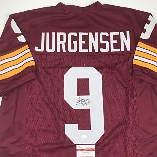 Autographed/Signed Sonny Jurgensen HOF 83 Washington Burgundy Football Jersey JSA COA