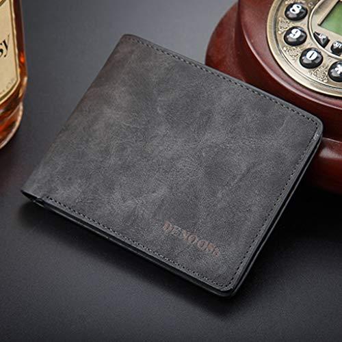 Liulu Moda Coin Purse Confezione Regalo di Cuoio Reale degli Uomini Wallet RFID Block Bus Card Set ID Slot for Scheda Porta Carte di Credito PU (Colore : Black)
