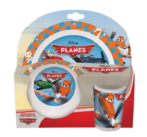 Disney Planes - Mélamine de Vaisselle Petit Déjeuner (Assiette, Bol, Tasse)