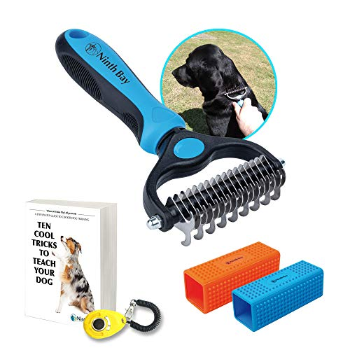 Ninth Bay, Superior Deshedding Tool for Dogs, Undercoat Rake and Dog Hair Remover Bundle, Pet Grooming Tool Suitable for All Dogs and Cats, Safe and Easy to Use & Clean, Detangles Long and Short Hair