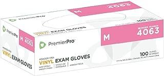 PremierPro 4063 Heavy Stretch Vinyl Gloves, Powder Free, Yellow, Medium (100 per box)