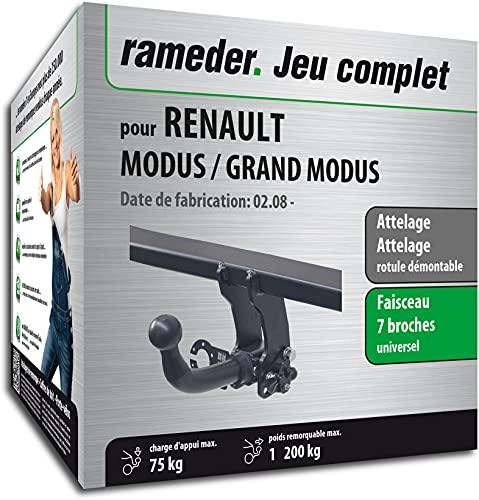 Rameder Pack, attelage rotule démontable + Faisceau 7 Broches Compatible avec Renault Modus/Grand Modus (130441-05213-2-FR)