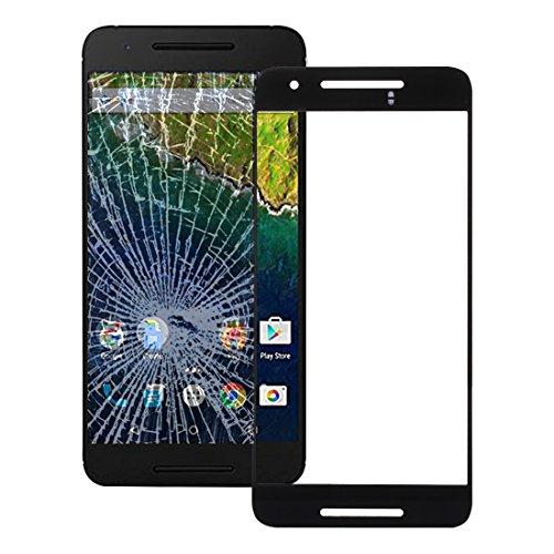 Powerxu Buena Pantalla Frontal Lente de Cristal Externa for Google Nexus 6P (Negro) (Color : Black)