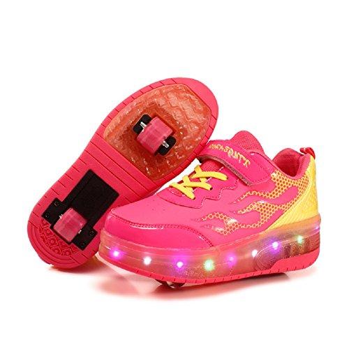 Zapatillas LED,Patines de Ruedas LED,para Unisex,Niños, Niñas,7 Colores,Ruedas Dobles Retráctiles,Zapatos Ligeros de Baja Altura para Deportes al Aire Libre,Zapatos Cruzados con Luz