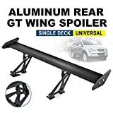 Hihone Car Rear Spoiler Wing, High Performance Aluminum Spoiler Wing Universal Fit, Adjustable Spoilers for Cars Tail, Rear Cars Trunk Racing GT Wing Bracket, Length 43Inch