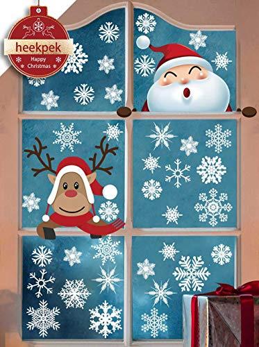 heekpek Pegatina de de Copo de Nieve Ventana de Navidad Linda Alce Papá Noel Adhesivo de Navidad Escaparates Fiesta de Feliz Navidad Vinilo Navideños para Niños DIY Decoración de Navidad Puerta Decal