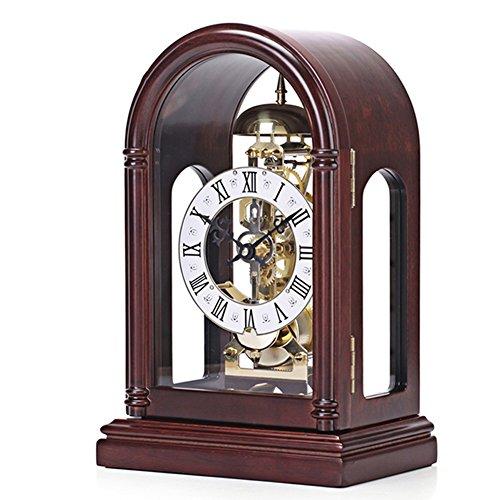 Qivor Reloj de Asiento de Metal de maquinaria de Madera Maciza Adornos Dormitorio de la Sala de Estar Encimera de Reloj con Hora por Hora