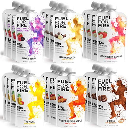 Fuel For Fire - Variety Pack with All 6 Flavors (24 Pack) Including New Mixed Berry! Fruit & Protein Smoothie Squeeze Pouch  Gluten Free, Soy Free, Kosher, No Added Sugar (4.5 ounce pouches)