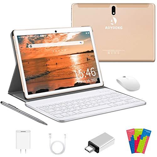 Tablet 10 Pollici 4G LTE, 4-core 4GB RAM e 64GB ROM 128 GB Espandibile Android 10.0, Supporto Dual SIM |WIFI|GPS|Bluetooth |OTG |Netflix|Type-C|Tablet con Wifi Offerte -Certificato Google GMS (Oro)