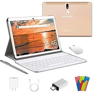 Tablet 10 Pulgadas 4G LTE WiFi, Android 10.0 Ultrar-Rápido Tablets 4GB RAM + 64GB ROM / 128GB Escalable, Laptop Convertible de Oficina-Quad Core, Dual SIM 8000mAh Bluetooth GPS OTG Type-C (Oro)