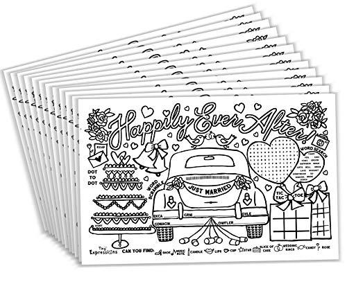 Tiny Expressions – Wedding Activity Placemats for Kids (Pack of 12 Wedding Placemats)   Coloring Activity Paper Mats for Kids Table   Disposable Bulk Bundle Set (12 Paper Placemats)