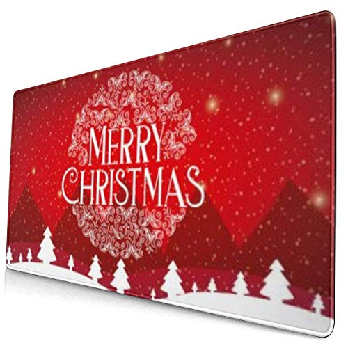 Neuheit Mauspad Frohe Weihnachtskarte Extended Gaming Laptop Computer Schreibtisch Büro Schwarze Matte Glatte Dicke Genähte Kante Rutschfest XXL Lang