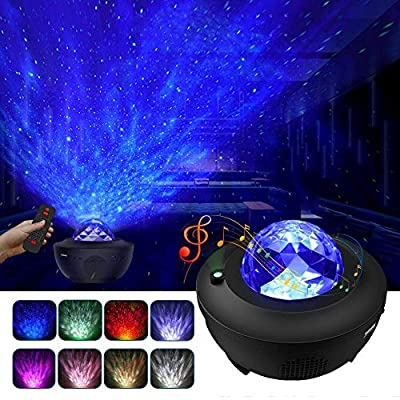 Night Light Projector, LBell 3 in 1 Ocean Wave Projector Star Projector w/LED Nebula Cloud for Baby Kids Bedroom/Game Rooms/Home Theatre/Night Light Ambiance with Bluetooth Music Speaker