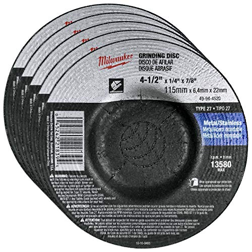 Milwaukee 5 Pack - 4 1 2 Grinding Wheel For Grinders - Aggressive Grinding For Metal & Stainless Steel - 4-1/2
