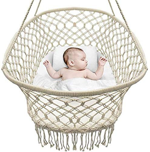 Baby Crib Cradle Hanging Bassinet and Portable Swing for Baby Nursery Macramé Rope Fringe Measures 35 L X 23.25 W X 14 H Weight Capacity 22 Pounds (Off White) Well