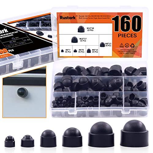 Rustark 160 Pcs Bolt Covers Screw Caps Assortment Kit M4 M5 M6 M8 M10 M12 Plastic Black Fitting Caps Nylon Insert Locknut for Matching Screws or Bolts with Storage Box