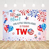 Ticuenicoa Our Little Firecracker is Turning Two Birthday Backdrop Fourth of July 2nd Birthday Backdrops Independence Day Background Backdrops for Second Birthday Newborn Banner Photo Props 5x3ft