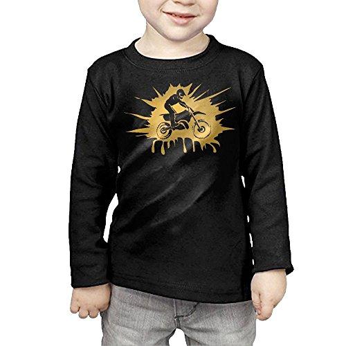Baby Girls' Little Boys' Motocross Dirt Bike Rider ComfortSoft Long Sleeve T-Shirt Black