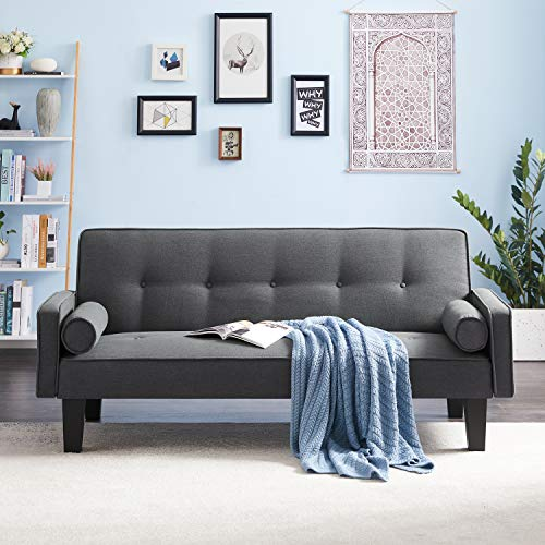 GAOPAN Linen Fabric Modern Convertible Folding Recliner Sofa Bed for Apartments & Home, Lounge Futon 2 Seater Couch with 2 Pillows/Armrest/Sturdy Plastic Legs for Living Room,Dark Grey