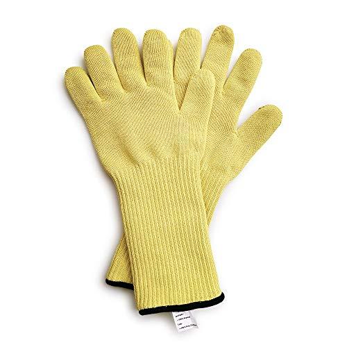 1 Paar Aramid-Garn, gestrickt, lang/kurz, schützt das Handgelenk, hitzebeständig, für brennende heiße Geschirr/Ofen/heiße Formen, Arbeitshandschuhe (groß, langes Handgelenk)