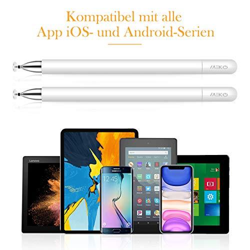 MEKO 2 Stücke Eingabestift Disc Touch Pen, 2 in 1 Stylus Pen universal Touchstift 100% kompatibel mit Allen Tablets Touchscreen iPhone iPad Surface Huawei usw, magnetische Kappe (weiß)