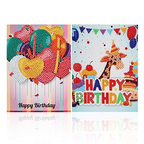 VETPW DIY 5D Diamant Malerei Geburtstagskarten Kit mit Umschläge (2er Pack), Liebe Herz Ballon Giraffe DIY Diamant Stickerei Malerei Geschenkkarte Grußkarten Kunst Handwerk