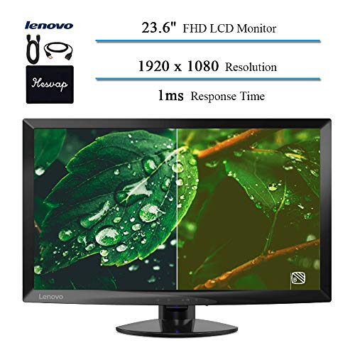 2020 Lenovo 23.6 LED Backlit LCD Monitor for Business and Student, FHD(1920x1080), IPS, VGA, HDMI, 1ms Response Time, 1000:1 Contrast Ratio, Ergonomic Design, Black w/HESVAP 3in1 Accessories