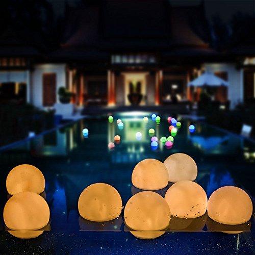 AGPTEK Flashing LED Ball Light, Warm White Floating Waterproof Mood Light for Garden Decoration/Pool/Pond/Party (Pack of 12)