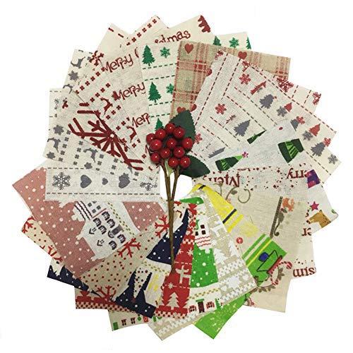 10x10cm 20 piezas de polialgodón paquete de Navidad DIY tela de algodón patchwork cuadrados diferentes patrón...