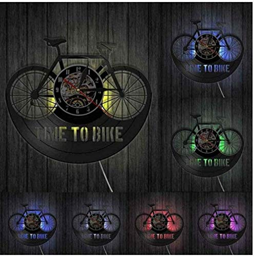 OH Wall Clock Time Biker Inspiration Quote Home Decor Mountain Bike Wall Clock Old Time Bike Cycling Retro Vinyl Record Modern/No Led