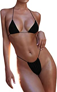 WUAI Women's Swimming Costume Sexy Halter Thong Bottom Triangle Bikini Swimsuits Bandage Brazilian Swimwear