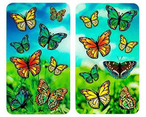 WENKO Herdabdeckplatte Universal Schmetterlinge, 2er Set Herdabdeckung für alle Herdarten, Gehärtetes Glas, 30 x 52 cm, mehrfarbig