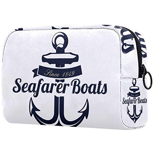 Toiletry Bag Cosmetic Travel Makeup Organizer Wash Bag Pouch with Zipper Seafarer Boat Anchor for Travel Accessories Essentials