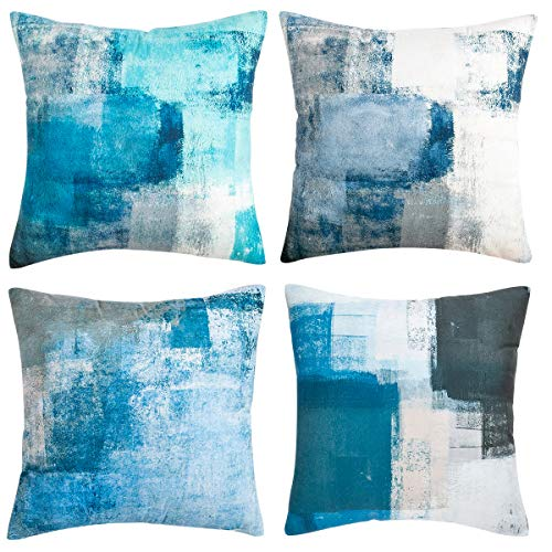 Cojines Decorativos para Sala Azul Vintage 45cmx45cm Cojines Fundas Paquete de 4 Fundas Cojines Almohada De Sofá Gris 18x18 P1ulgada