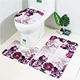LAOSHIZI Nuovo Tappetini per Il Bagno Morbido Petalo di Rosa 3 Pezzi Set Contour rug igienici Coperchio Coperchio e Vasca da Bagno Mat Fiore Viola